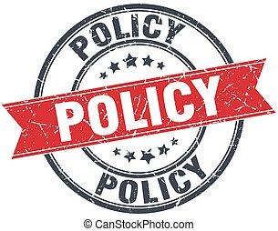 policy red round grunge vintage ribbon stamp