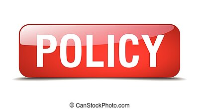 policy red square 3d realistic isolated web button