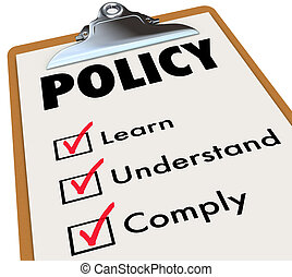 Policy Regulations Rules Checklist Clipboard Learn...