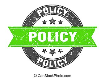 policy round stamp with green ribbon. policy