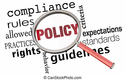 Policy Rules Regulations Guidelines Magnifying Glass 3d Illustration