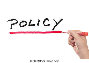 Policy word written on white board