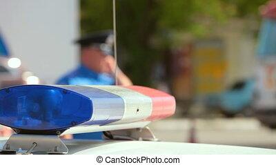 policyjny wóz, na, miasto droga