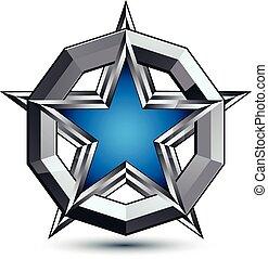 polido, arredondado, melhor, design., azul, teia, uso, anel, isolado, prateado, pentagonal, fundo, geomã©´ricas, branca, branded, estrela, símbolo, stylized, prata, ícone, gráfico, colocado, vetorial, eps8.