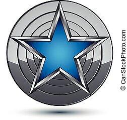polido, melhor, design., azul, teia, uso, experiência., isolado, metálico, pentagonal, geomã©´ricas, branca, 3d, estrela, símbolo, stylized, celebrative, prata, ícone, gráfico, colocado, vetorial, redondo, superfície
