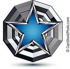 polido, melhor, design., azul, teia, uso, experiência., isolado, pentagonal, geomã©´ricas, branca, 3d, estrela, símbolo, stylized, celebrative, prata, ícone, fascinante, gráfico, colocado, vetorial, redondo, superfície