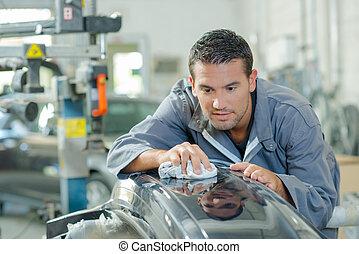 polieren, auto- teil, mechaniker