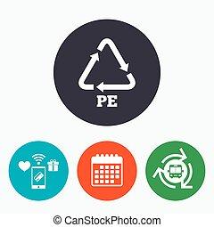 polietileno, reciclagem, símbolo., sinal, pe, icon.