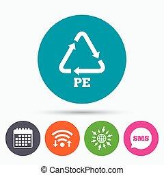 polietileno, reciclaje, símbolo., señal, pe, icon.
