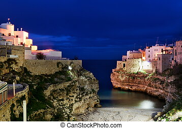 Polignano a mare evening view - Night view of little village...