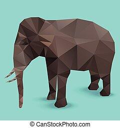 poligon, elefánt, grafikus, információs anyag