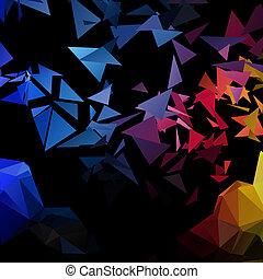poligonal-art, vector, ontploffing, driehoeken, achtergrond