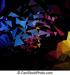 poligonal-art, vetorial, explosão, triângulos, fundo