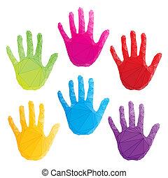 poligonal, barwny, sztuka, odciski, ręka, wektor