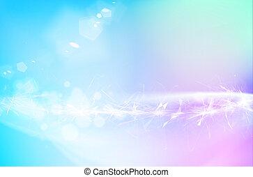 poligonal, cristal, illustration., wissenschaft, aus, blaues, fließen, oder, hintergrund., glühen, abstrakt, wind- himmel
