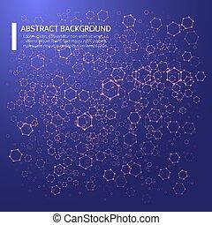 poligonal, eps10, elements., 点を打たれた, 抽象的, イラスト, ベクトル, 格子バックグラウンド