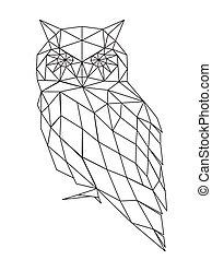 poligonal, hibou, silhouette.