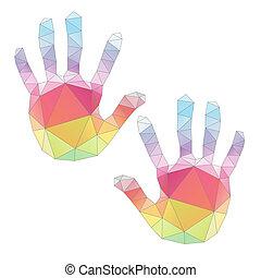 poligonal, impressões, arte, coloridos, mão, vetorial