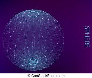 poligonal, kugelförmig, lines., blaues, punkte