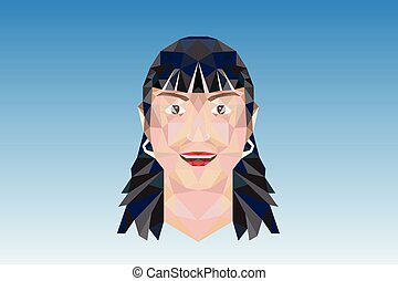 poligonal, logotipo, ragazza, faccia donna