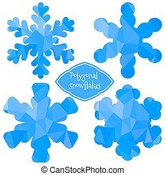 poligonal, snowflakes.