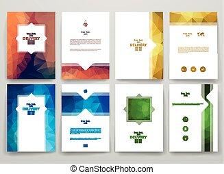 poligonal, style, ensemble, brochures, theme., livraison