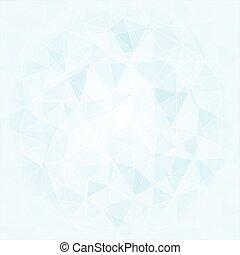 poligonal, toni blu, astratto, fondo, bianco