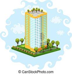 poligono, costruzione, casa, residenziale, bianco, isometrico, blu, multi-piano, fondo.