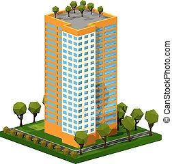 poligono, costruzione., casa, residenziale, bianco, isometrico, multi-piano, style., fondo.