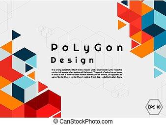 poligono, spazio, stile, moderno, testo, fondo, tuo, colorito, esagono, disegno