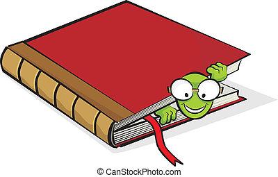 polilla, y, libro