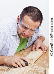 polimento, madeira, planck, homem