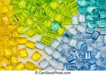 polimer, áttetsző, festett, granulate
