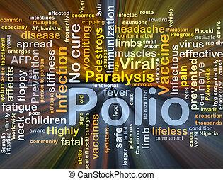 polio, fondo, concetto, ardendo