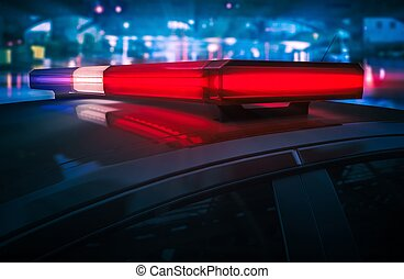 polis, blinkande, tak, lyse