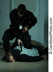 polis officerare, oemotståndlig, a, brottsling
