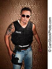 polis, pfficer, med, gevär