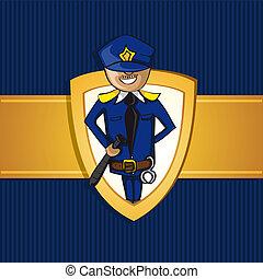 polis, skydda, service, symbol., tjänsteman, tecknad film, man