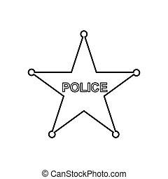 polis, stjärna, skissera, icon., linjär