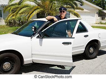polis, -, tjänsteman, &, polis bil
