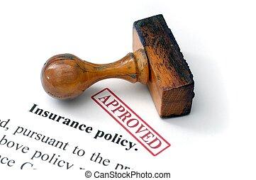 polis, -, verzekering, goedgekeurd