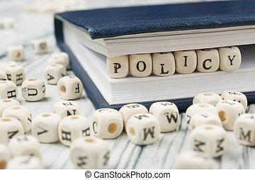 polis, woord, geschreven, op, hout, block., houten, alfabet