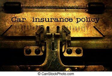 polisa, wóz, pojęcie, grunge, ubezpieczenie