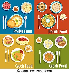 Polish and czech national cuisine dishes
