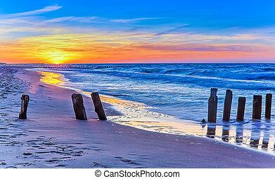 Polish beach at sunset