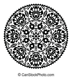 Polish black folk pattern - Decorative floral vector patters...