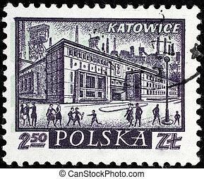 Polish city on postal stamp