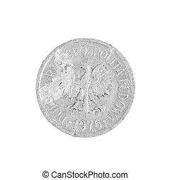 Polish coin close up.