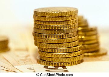 Polish coins, close-up