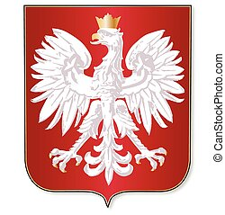 Polish Crest - The polish crest upon a red shield over a...